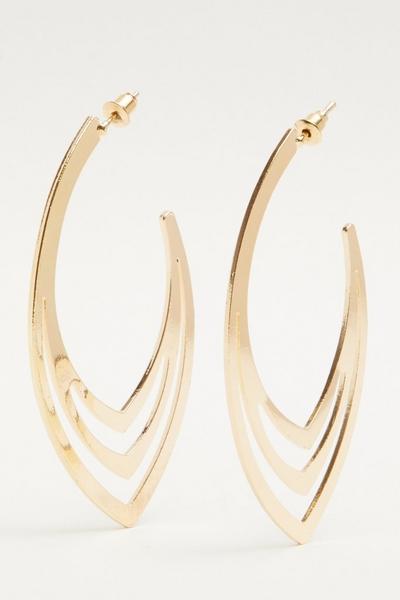Gold Oval Hoop Earring