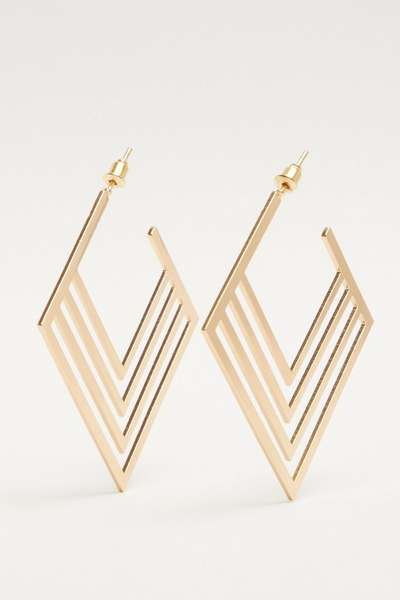 Gold Square Hoop Earring