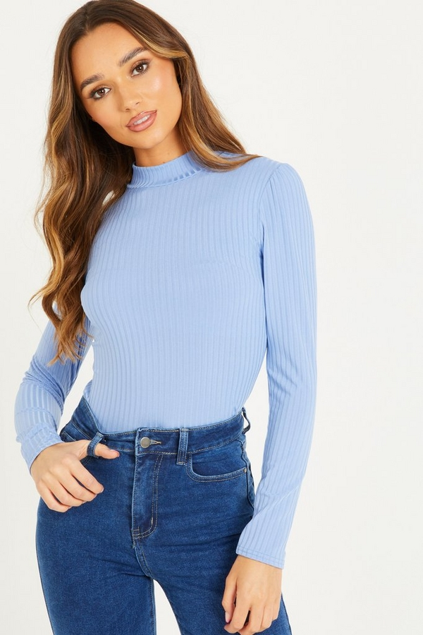 Pale Blue Ribbed Turtle Neck Top