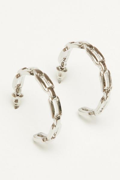 Silver Chain Hoop Earring