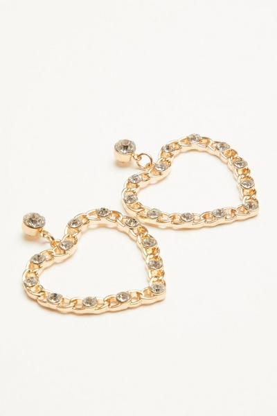 Gold Diamante Heart Drop Earring