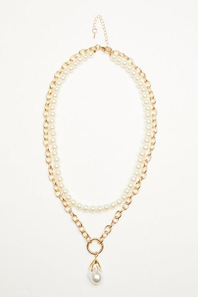 Gold Pearl Layered Nacklace