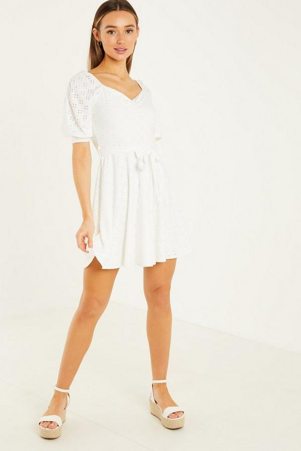 Cream Puff Sleeves Skater Dress