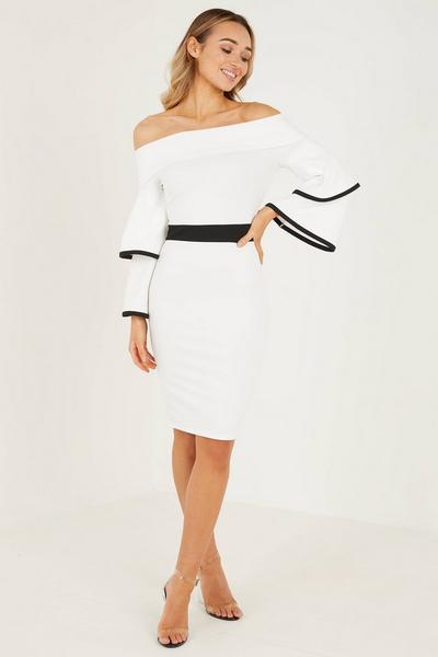 Cream Scuba Crepe Bardot Frill Midi Dress