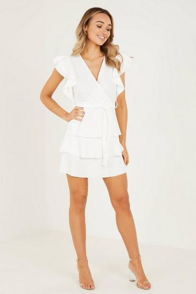 Cream Double Frill Wrap Dress