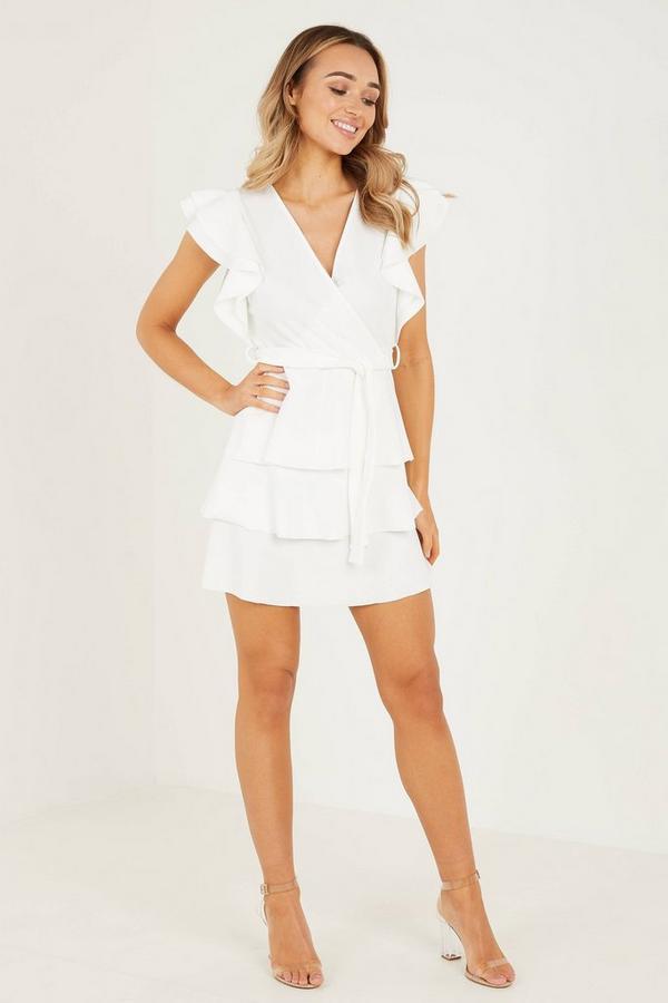 Cream Double Frill Wrap Dress