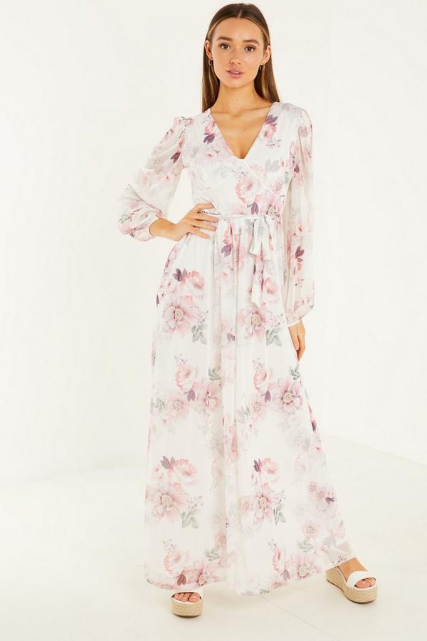 Cream/Pink Mesh Floral V Neck Dress