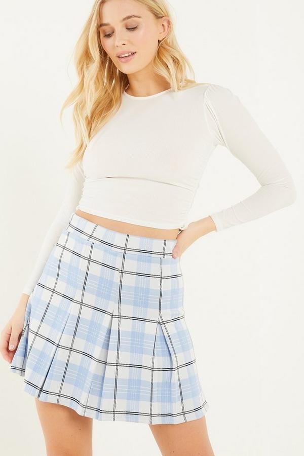 Blue Check Pleated Mini Skirt