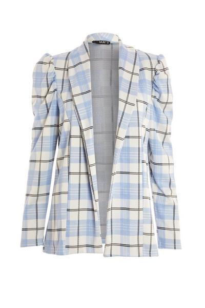 Blue Check Puff Sleeve Blazer