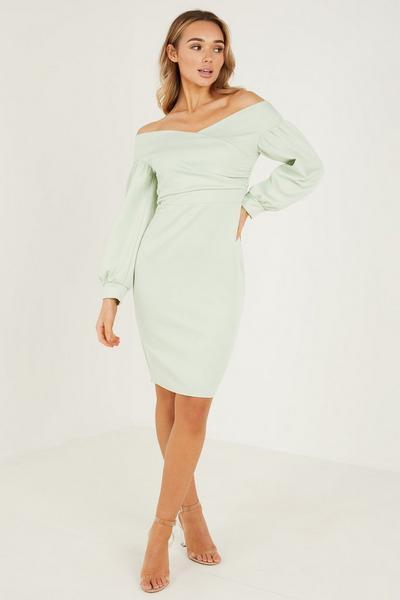 Scuba Wrap Bardot Long Sleeves Midi Dress