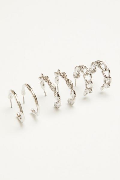 Silver Twist Hoop Earring Set