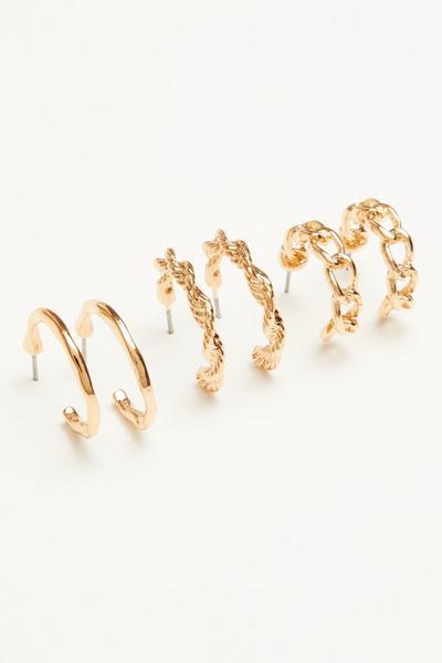 Gold Twist Hoop Earring Set