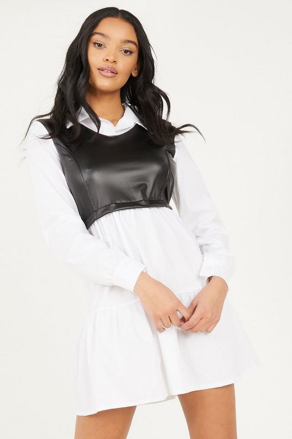 White & Black Faux Leather Shirt Dress