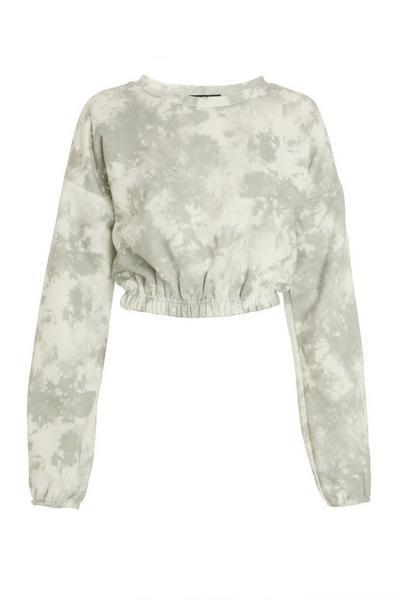 Sage Tie Dye Cropped Sweatshirt