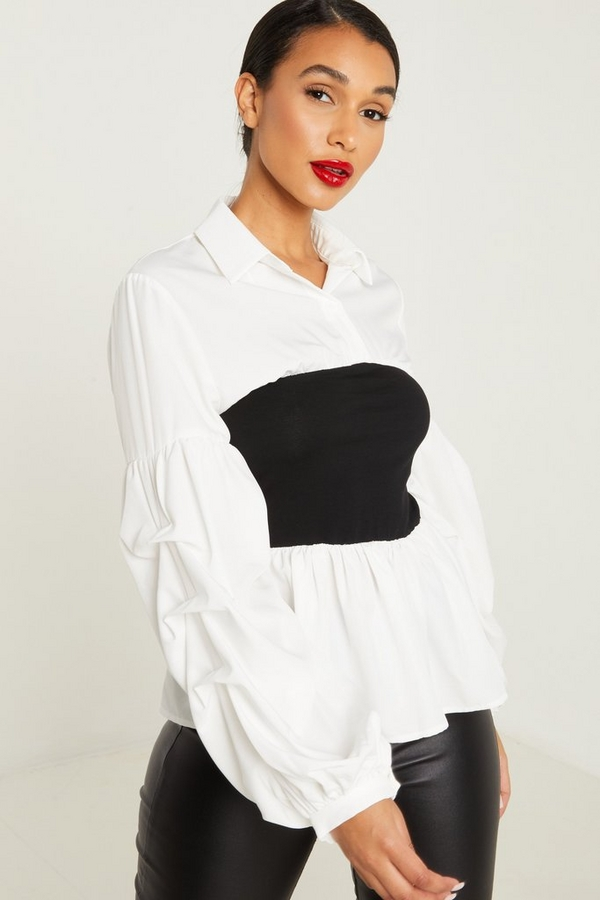 White Ruched Sleeve Contrast Shirt
