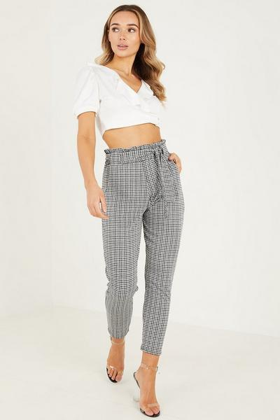 Black & White Gingham Paper Bag Trouser