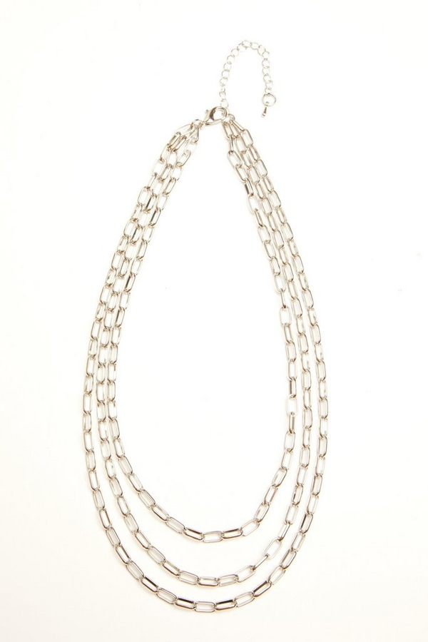 Silver Chain Layered Necklace