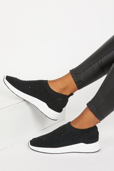 Black Diamante Knit Trainer