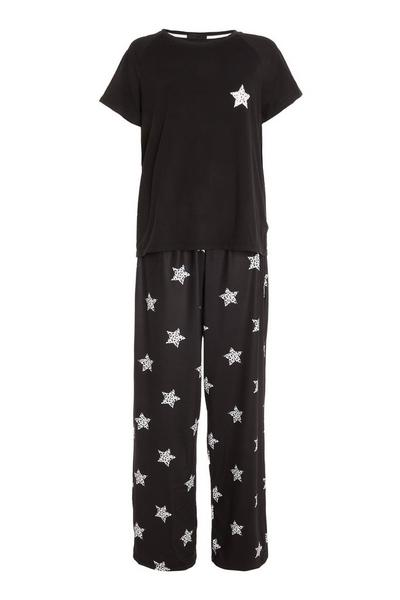 Black Star Long Pyjama Set