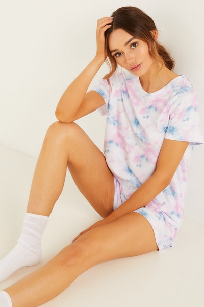 Multicoloured Tie Dye Short Pyjama Set
