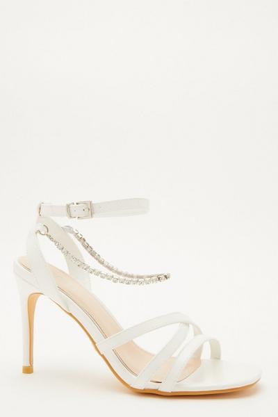 Bridal White Embellished Heeled Sandals