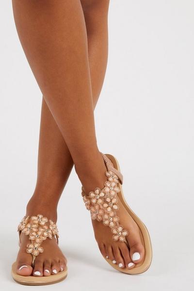 Rose Gold T-Bar Sandals