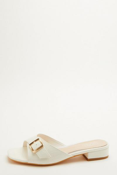 White Crocodile Buckle Sandal