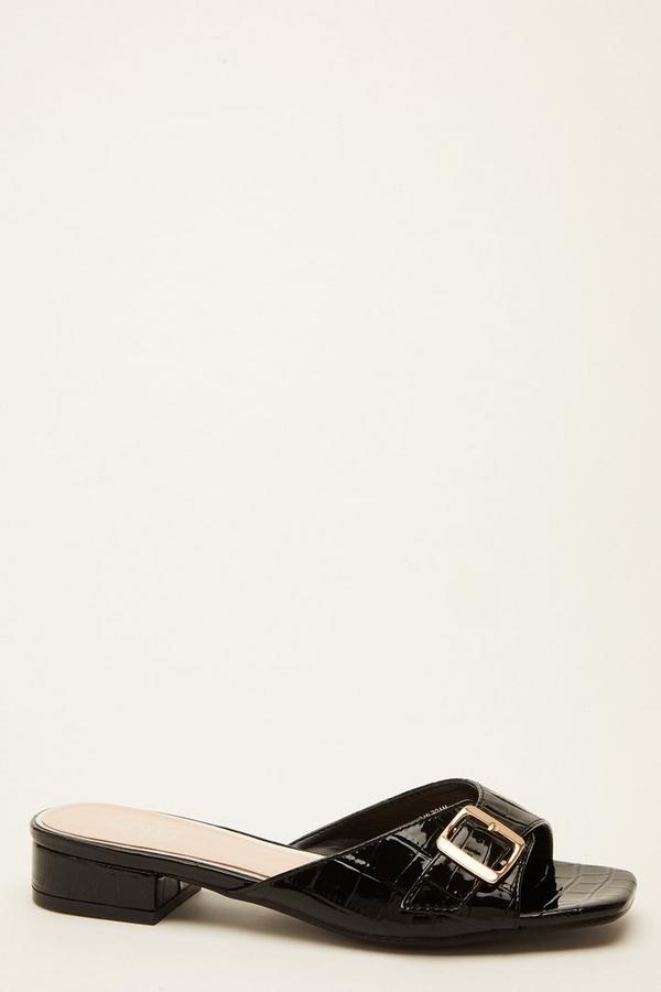 Black Crocodile Buckle Sandal