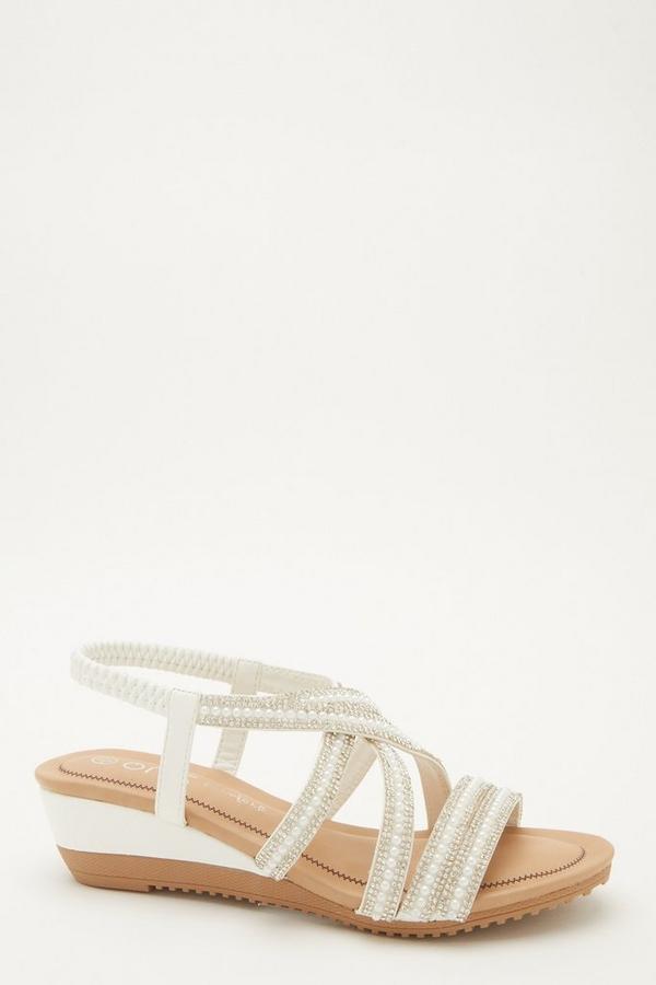 Comfort White Embellished Wedges