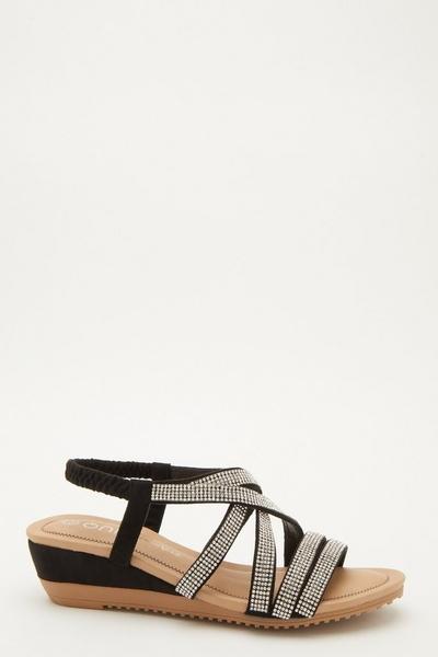 Comfort Black Embellished Wedges