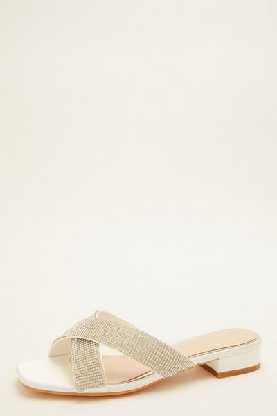 Bridal White Diamante Mule Sandals