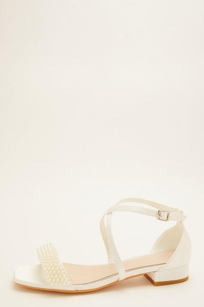 Bridal White Pearl Flat Sandals