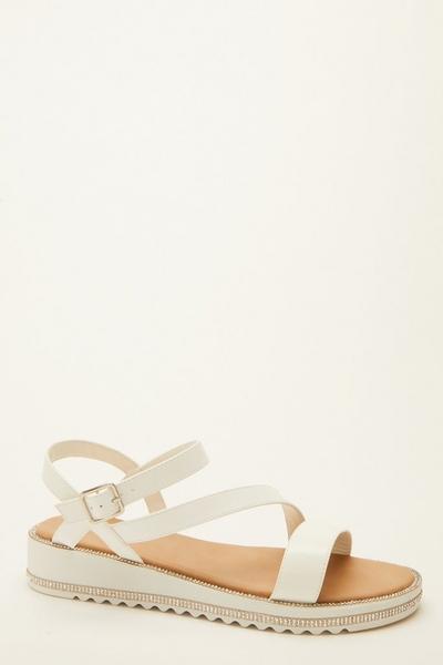 White Faux Leather Flatform Sandals