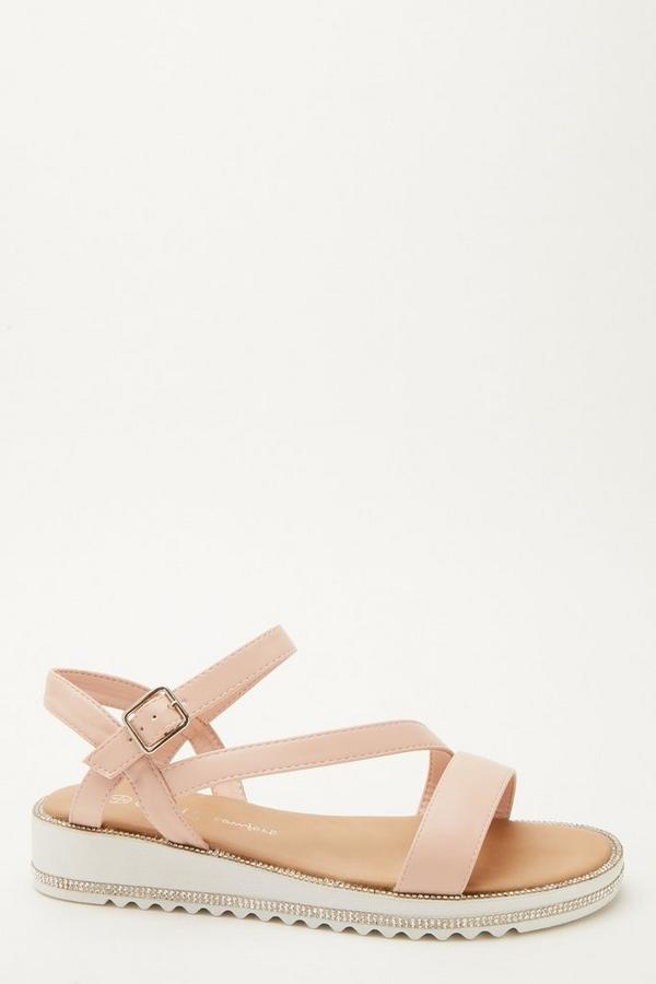 Pink Faux Leather Flatform Sandals