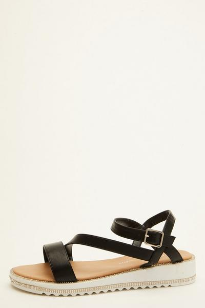 Black Faux Leather Flatform Sandals