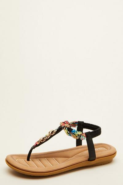 Comfort Black Chain Sandals