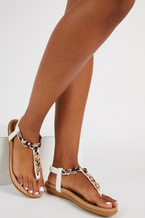 Comfort White Chain Sandals