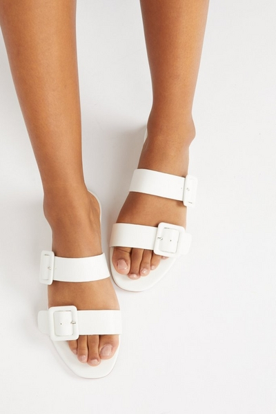 White Faux Leather Mule Sandals