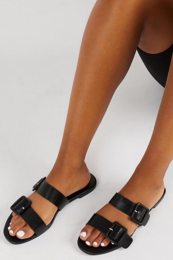 Black Faux Leather Mule Sandals
