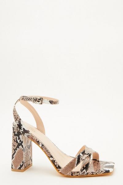 Stone Snake Print Block Heeled Sandal