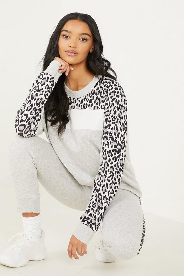 Grey Leopard Print Top