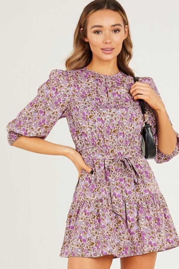 Purple Floral Skater Dress