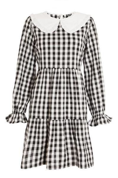 Black & White Gingham Tiered Dress