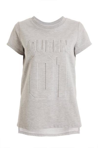Grey 'Queen' Slogan T Shirt