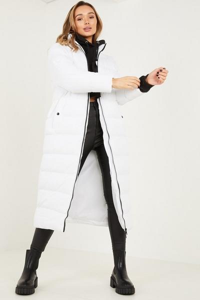 White Long Puffer Coat