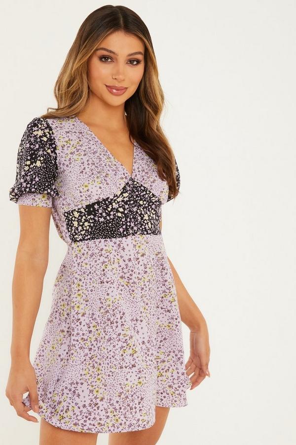 Lilac Floral Skater Dress