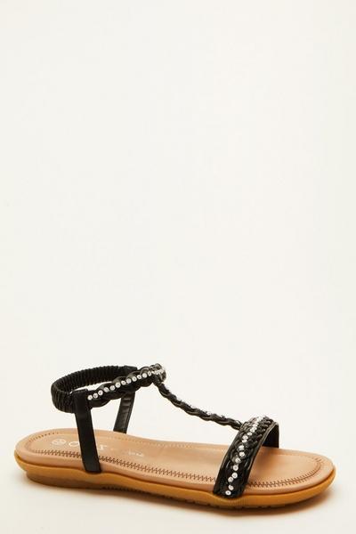 Comfort Black Diamante Flat Sandals