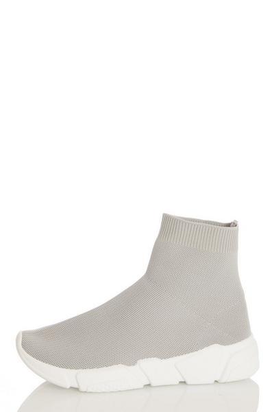 Grey Knit Sock Trainer