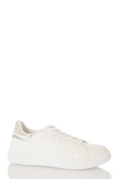 Silver Lace Up Trainer