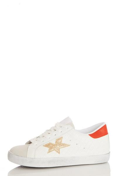 White Faux Leather Star Trainer